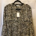Calvin Klein Animal Print Sleeve Straps Plus Size 2x New With Tags Top Brown and White Image 1