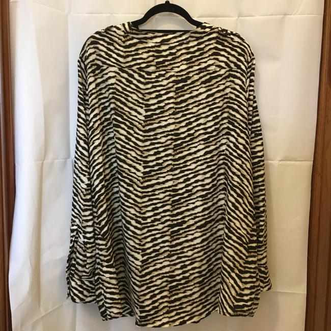 Calvin Klein Animal Print Sleeve Straps Plus Size 2x New With Tags Top Brown and White Image 7