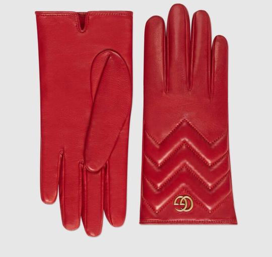 Gucci marmont Gg chevron leather gloves size 8 Image 1