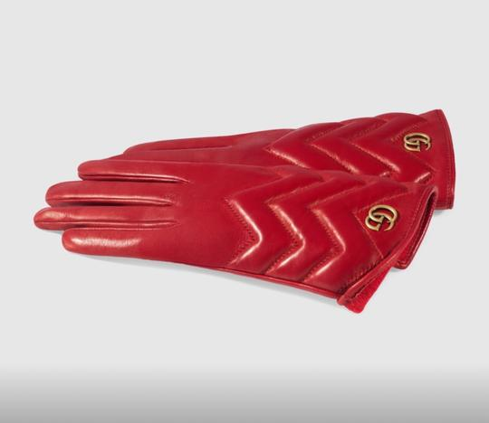 Gucci marmont Gg chevron leather gloves size 8 Image 3