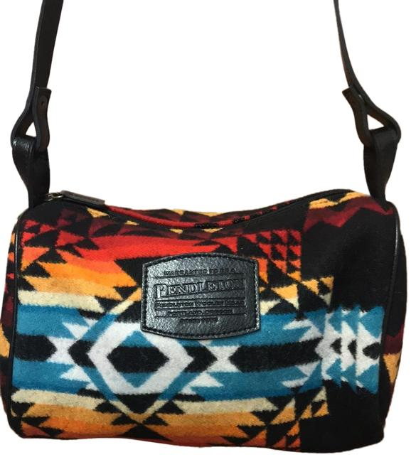 Item - Black Red Turquoise Whit Yellow Multi Wool and Leather Shoulder Bag