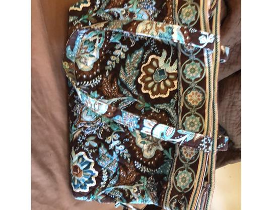 Vera Bradley Blue, Brown Travel Bag Image 3