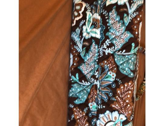 Vera Bradley Blue, Brown Travel Bag Image 6