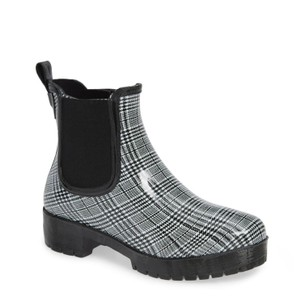 Jeffrey Campbell Rainboots Plaid Ankleboots Black Boots