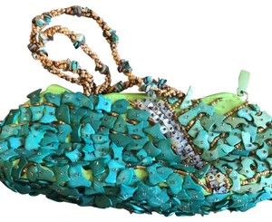 Mido Teal, Blue, Green Clutch