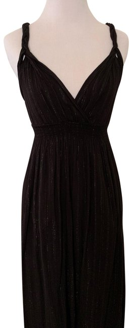 Item - Black with Gold/Silver Sparkle Threaded Stripes Unknown Long Casual Maxi Dress Size 2 (XS)