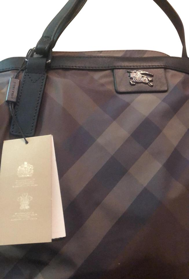 Burberry With Leather Straps Dark Brown Burgundy And Black Nylon Tote 5 Off Retail