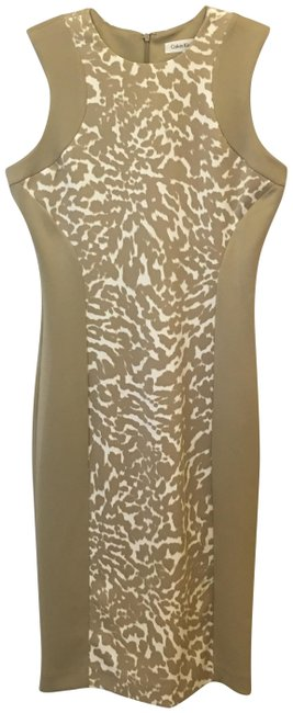 Item - Tan and White Short Work/Office Dress Size 4 (S)