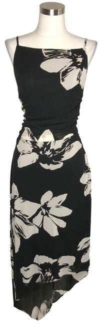 Item - Black White N499 Designer Large Long Formal Dress Size 12 (L)
