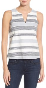 cupcakes and cashmere Summer Stripes V-neck Top Blue/White