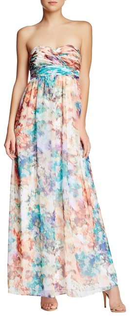 Item - Turquoise Multi Watercolor Strapless Marble Print Chiffon Gown Long Formal Dress Size 0 (XS)