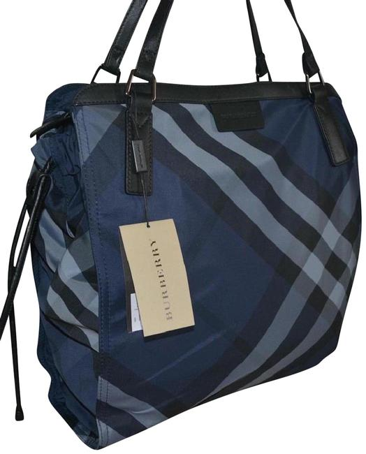 Item - New Check Packable Purse Shopper Navy Blue Nylon Tote