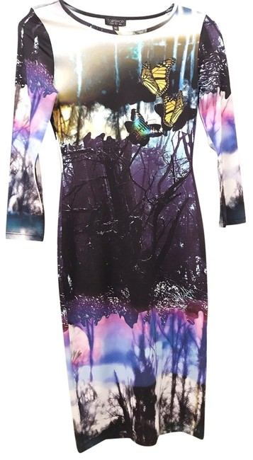 Item - Multi Colored Graphic Bodycon Mid-length Night Out Dress Size 2 (XS)