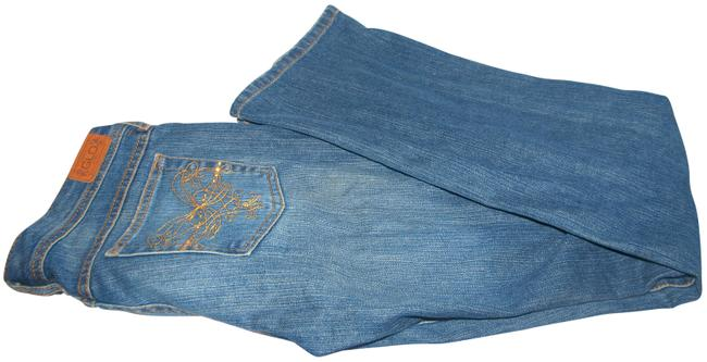 Item - Blue Medium Wash Junior Embroidered Pockets Low Rise Boot Cut Jeans Size 32 (8, M)