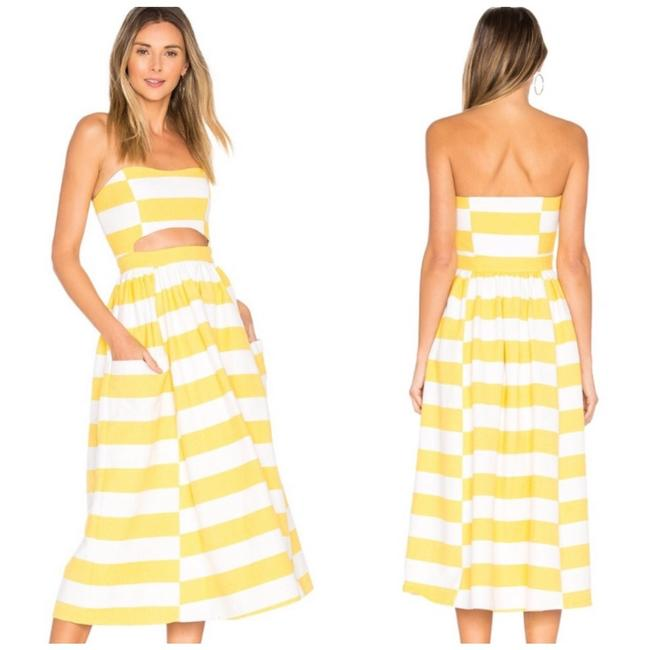 Item - Yellow and White Cutout Striped Midi Mid-length Casual Maxi Dress Size 4 (S)