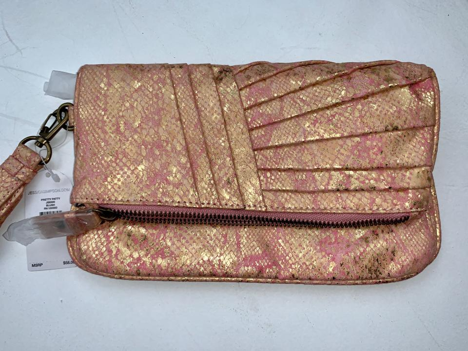 b1c6a4cf733 Jessica Simpson Gold and Pink Leather Clutch - Tradesy