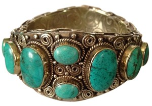 Other Embellished by Leecia Large Turquoise & Silver Tibetan Statement Bracelet Only! Matching Pieces Sold Seperately