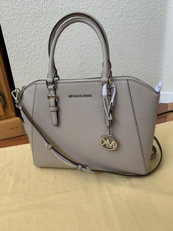 Michael Kors ** Flash sale ** Ciara Large Grey ( Cement ) Saffiano Leather Satchel 67% off retail