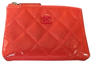 b162928e5bb0ea Chanel CHANEL Coral Pink Patent Quilted Zip Coin Purse With Key Ring!