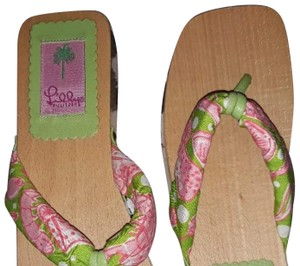 Lilly Pulitzer Mules Clogs Flip Flops Summer Green Sandals