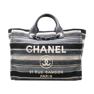 Chanel 2018 Deauville Striped Tote in Blue/White/Gray