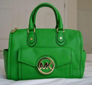 Michael Kors Margo Mk Top Satchel in PALM Green/GOLD HARDWARE