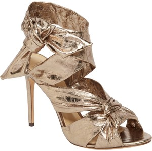 Alexandre Birman Ankle Strap Open Toe Leather Metallic Pumps
