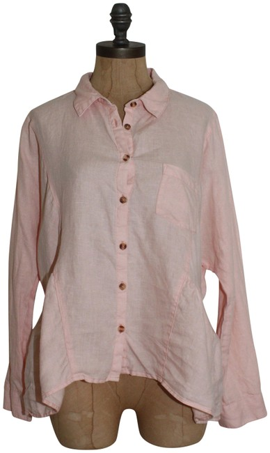 Item - Pink Holding Horses Mckenzie Linen Button-down Top Size 6 (S)