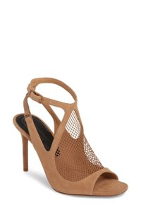 Alexander Wang Suede Open Toe Ankle Strap Mesh Nude Sandals