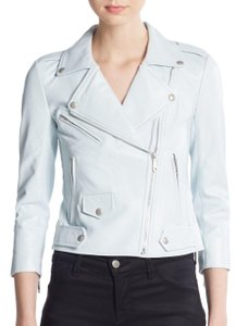 Rebecca Minkoff Moto Asymmetric Perforated Lambskin Sky Blue Leather Jacket
