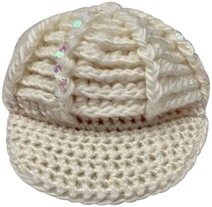 Unbranded WHITE CREAM WOVEN KNIT WOOL HAT CAP WITH IRIDESCENT SEQUINS NEWSBOY