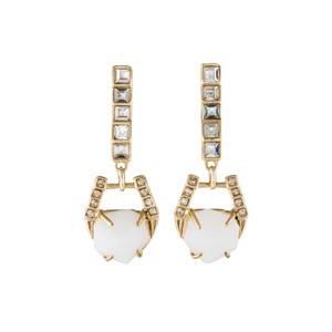 Alexis Bittar White Quartz Doorknocker Earrings