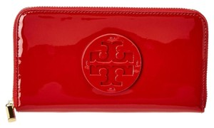 Tory Burch Red Stacked Zip Continental Patent Wallet