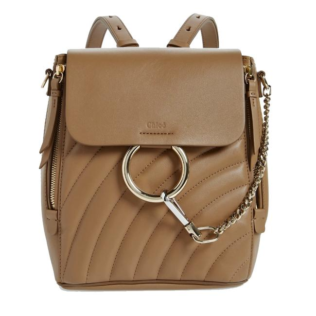 Item - Faye Small Quilted Nut Leather Backpack