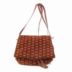 Bottega Veneta Mint Vintage Two-way Style Rare Satchel in embossed orange butterfly print on brick red suede and leather