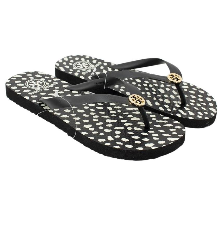 e505238a4b159 Tory Burch Black and White Printed Thin Flip-flops Flats Size US 9 Regular  (M, B)