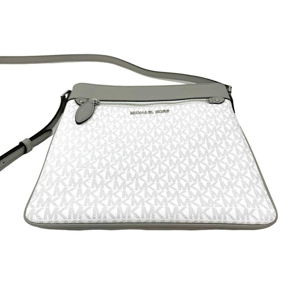 193a2acd1067 Michael Kors Connie Large North South Signature Top Zip Bright White ...