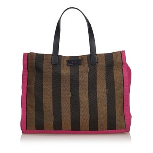 Fendi 9efnto002 Vintage Canvas Leather Tote in Brown