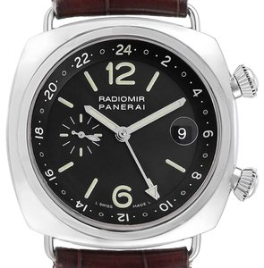 Panerai Panerai Radiomir GMT Dual Time 42 Steel Mens Watch PAM00184 Box Papers