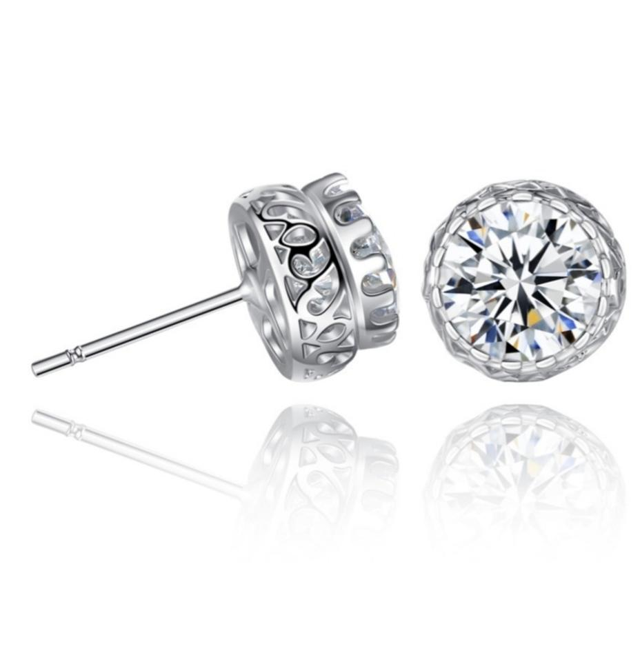 cheapest price stylish design new arrive ** .925 Sterling Silver Dazzling Swarovski Crystal 10mm Large Stud Earrings  61% off retail