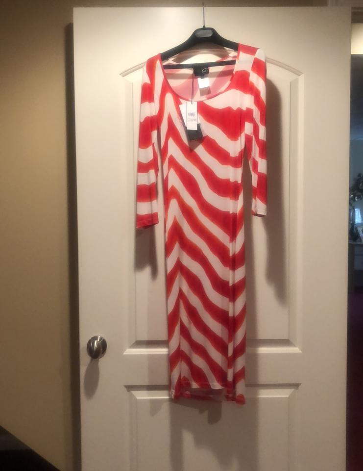 buy popular 08074 b9a50 Just Cavalli Red and White Abito Mid-length Night Out Dress Size 8 (M)