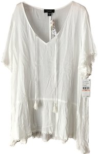 Karen Kane New With Lace Trim Crinkled Fabric V-neck Self-tie W/Tassels Tunic