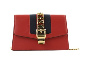 Gucci Leather Gold Hardware Chain Mini Cross Body Bag