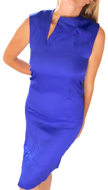 Item - Cobalt Blue New Satin with Gold Hardware Mid-length Cocktail Dress Size 8 (M)
