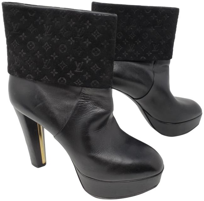 Item - Black Leather Lv Print Round-toe Ankle Boots/Booties Size EU 36 (Approx. US 6) Regular (M, B)