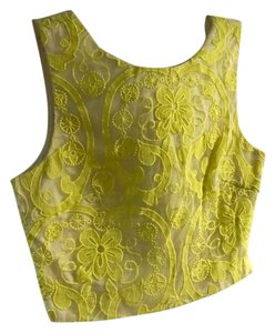 Lucy Paris Cropper Summer Lace Top Yellow