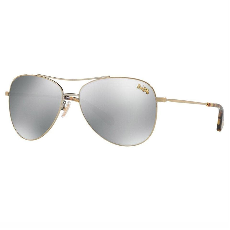 0c93db3be98c Coach Gold Frame & Silver with Buggy Polarized/Mirrored Lens Women Aviator  Sunglasses