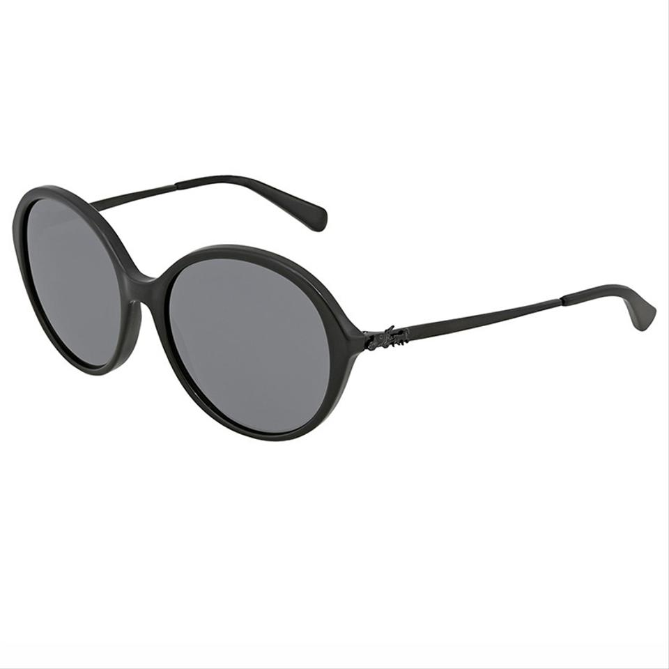 bb1be5bcc35e Coach Black Frame with Iconic Buggy On Arms & Grey Lens Women Round  Sunglasses