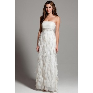 Sue Wong White Chiffon Ostrich and Goose Feathers Beaded Gown Modern Wedding Dress Size 12 (L)