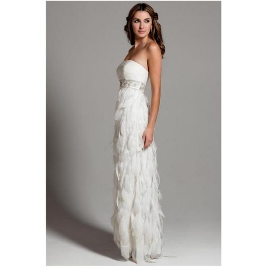 Sue Wong White Chiffon Ostrich and Goose Feathers Beaded Gown Modern Wedding Dress Size 12 (L) Image 1